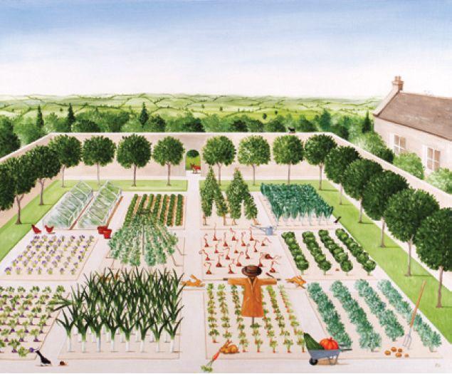 Rebecca Campbell The Kitchen Garden Card In Waterstones Garden Illustration Spring Vegetable Garden Garden Design