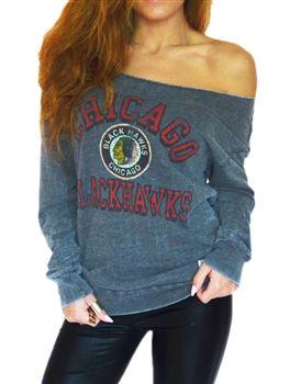 Love the Off-Shoulder look in this Chicago Blackhawks sweatshirt ... 68448dc5d