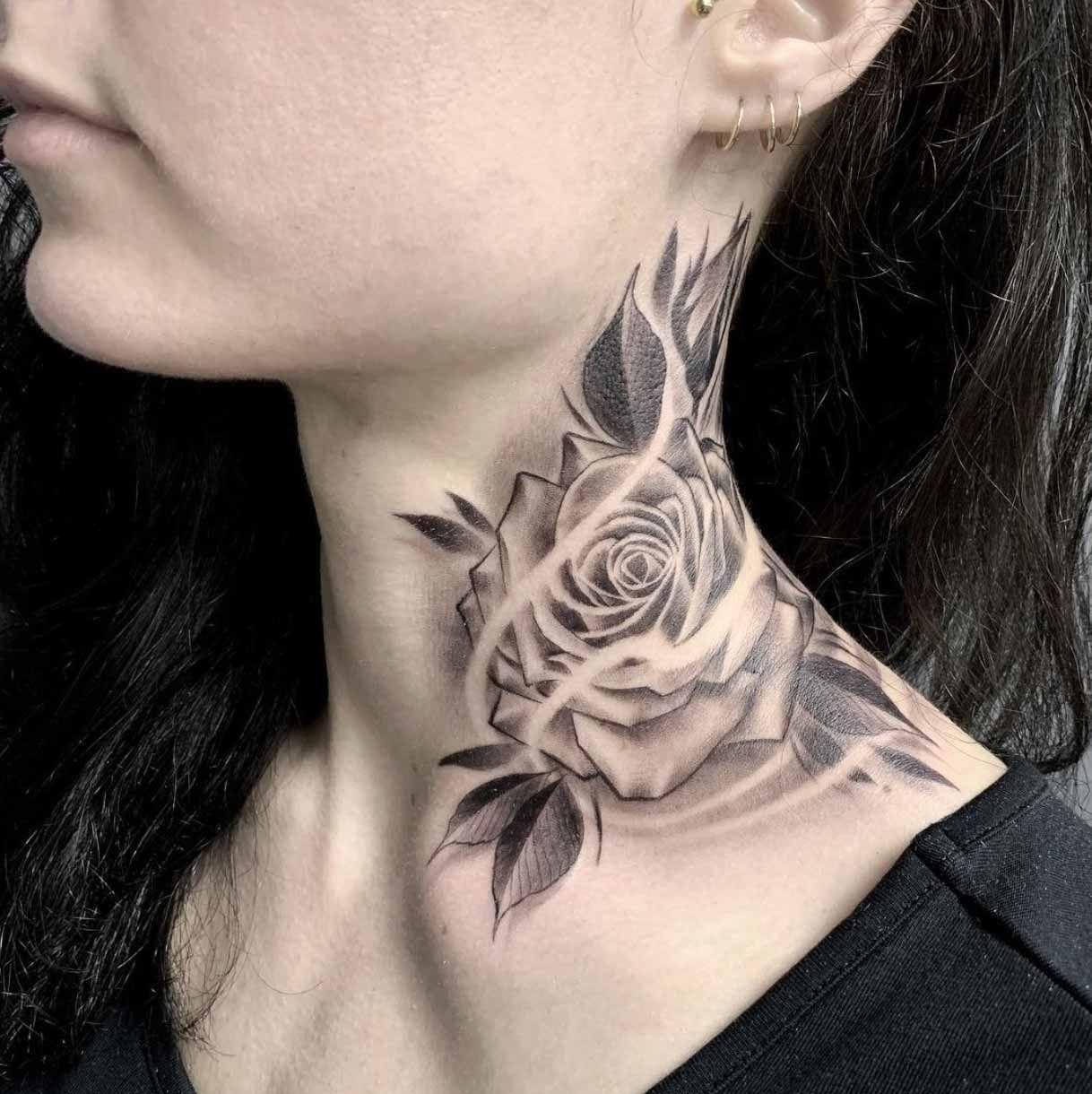 neck tattoos women side,neck tattoos women back of,neck
