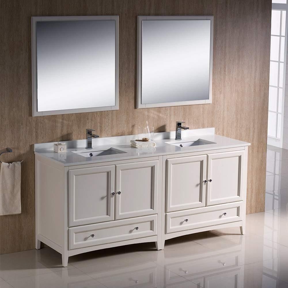 Fresca Oxford 72 Antique White Traditional Double Sink Bathroom Vanity