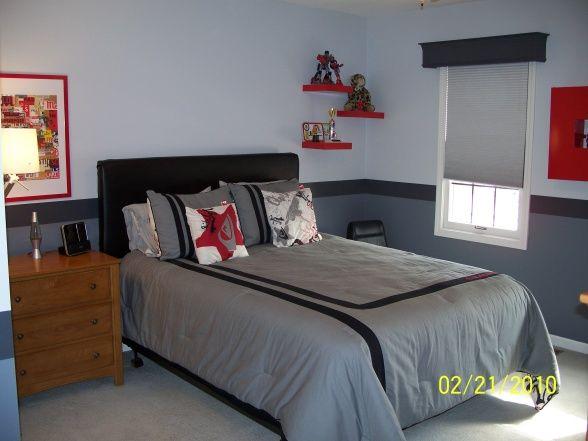 Boy S Cool Gray Bedroom Red Boys Bedroom Grey Bedroom With Pop