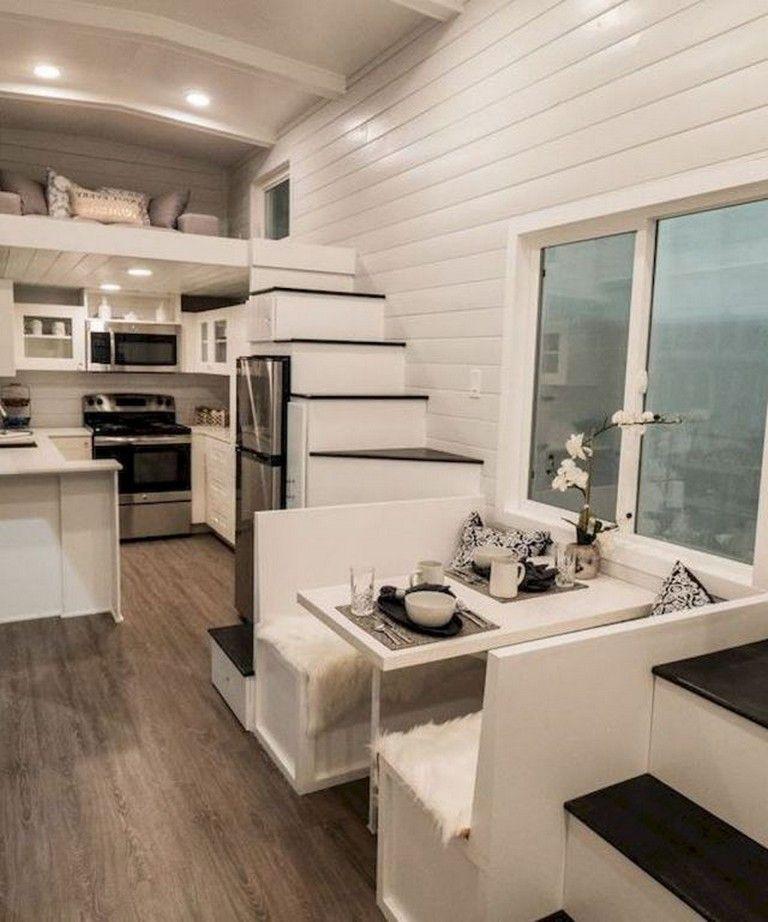45 Amazing Tiny House Living Room Decor Ideas #tinyhousekitchens