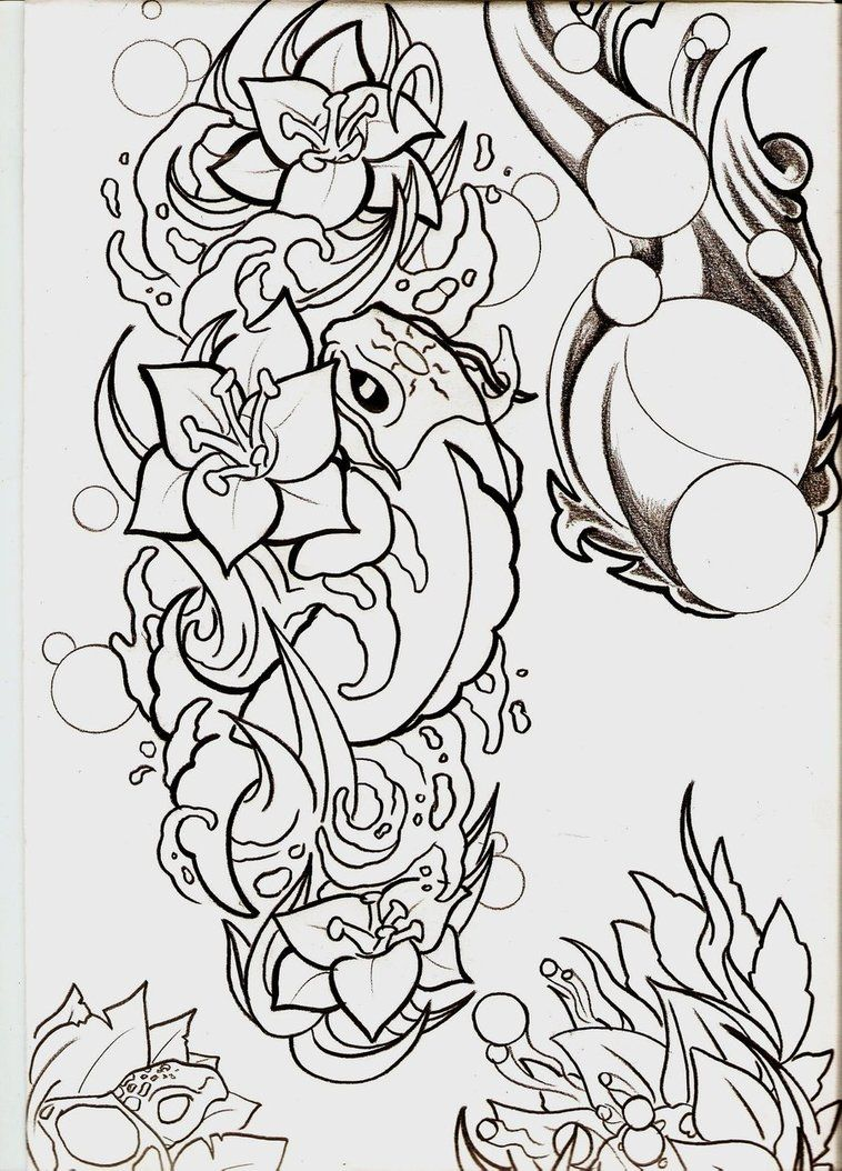 Koi and flowers outline by sykboi on deviantart flower bouquet koi and flowers outline by sykboi on deviantart izmirmasajfo