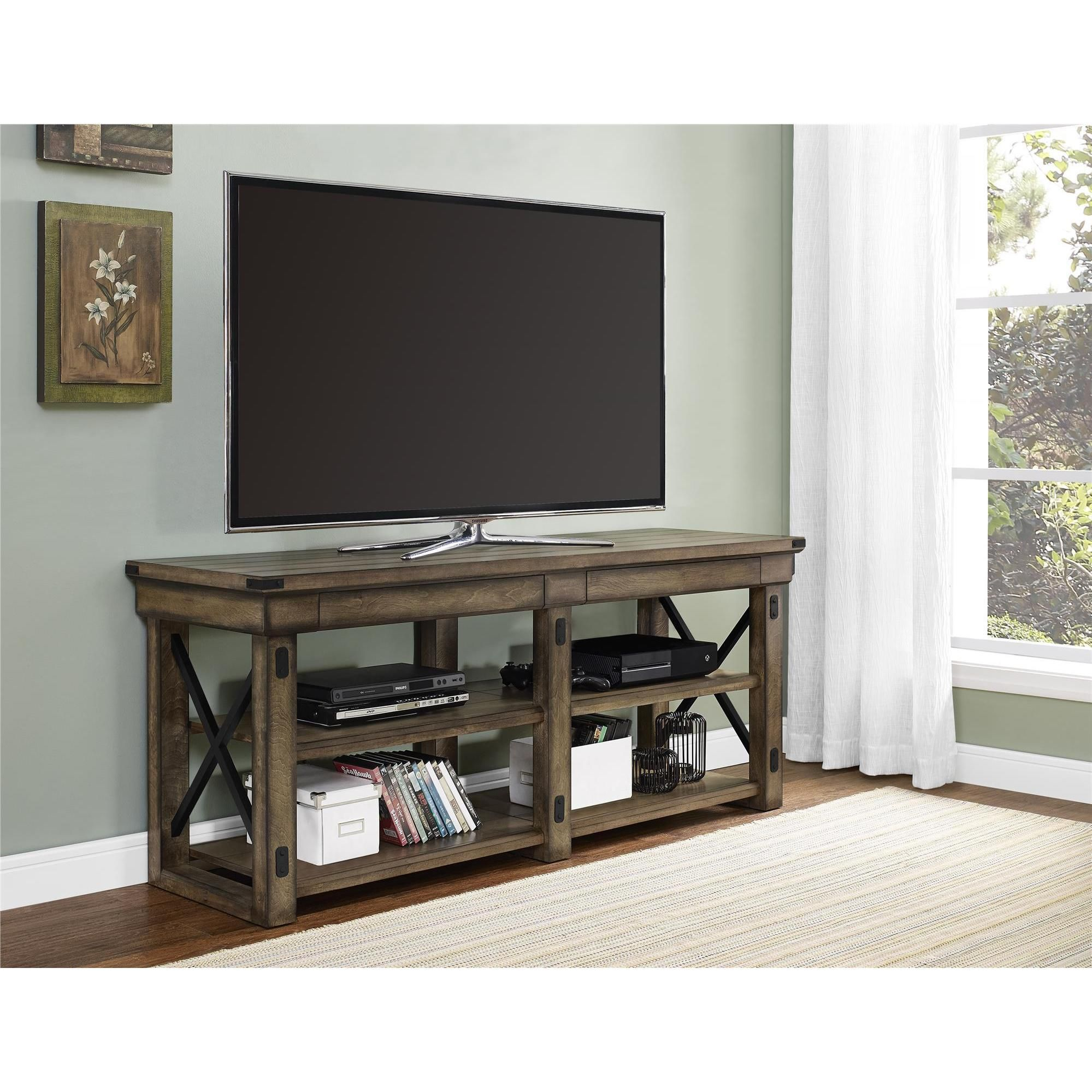 Bring Beauty And Better Organization Into Your Living Room With The Altra Wildwood Rustic Grey Wood Veneer 65 Inch Tv Stand This Holds A Flat