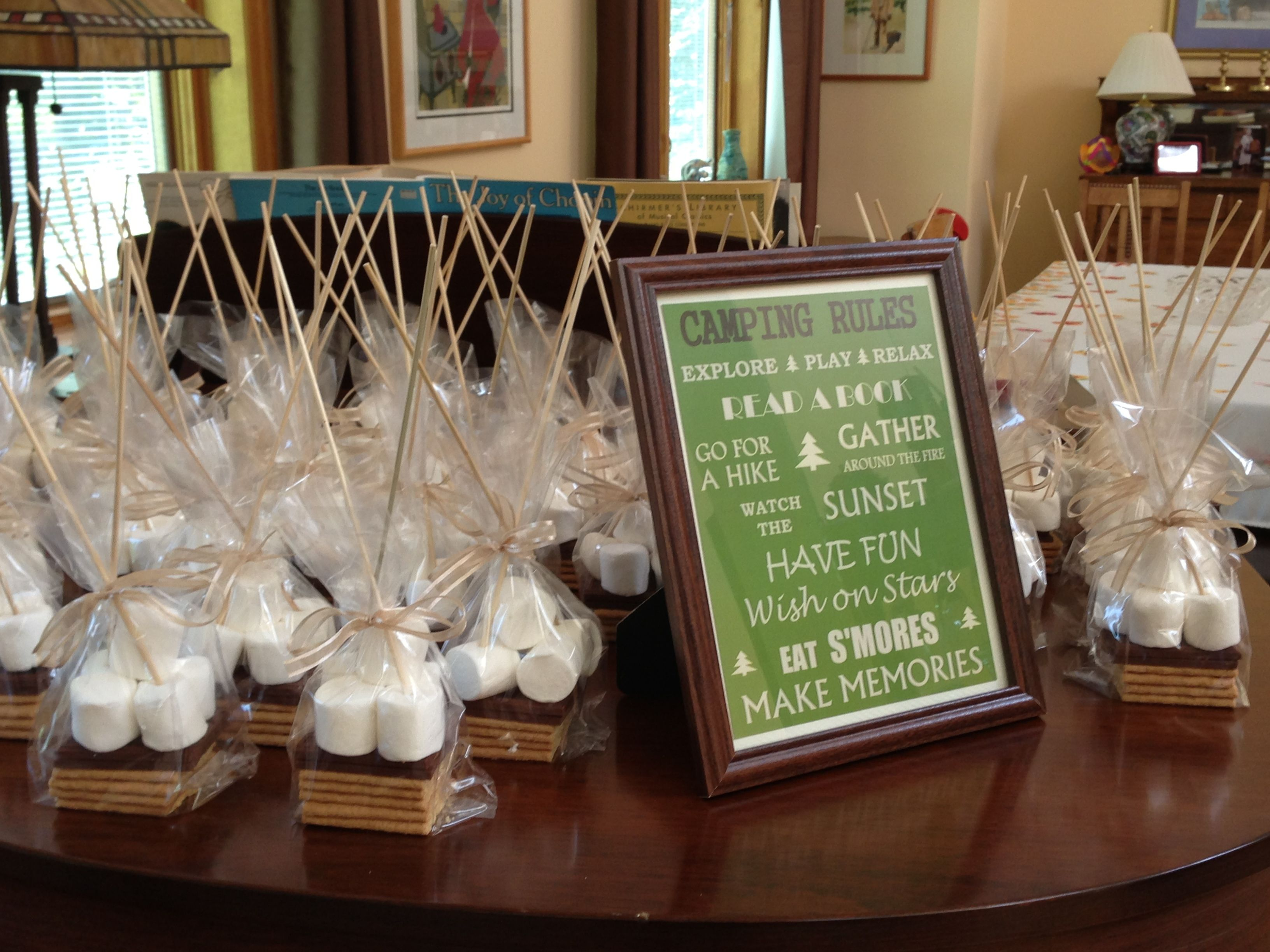 S Mores Party Favors Set Up At The Bridal Shower Sweet