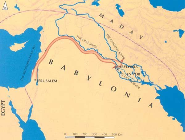 Map of The Babylonian Exile  Jewish Virtual Library  BIBLE MAPS
