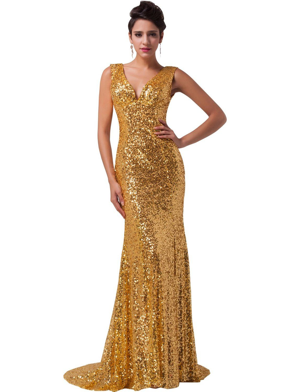 Grace karin womenus vneck sequins floor length evening gown
