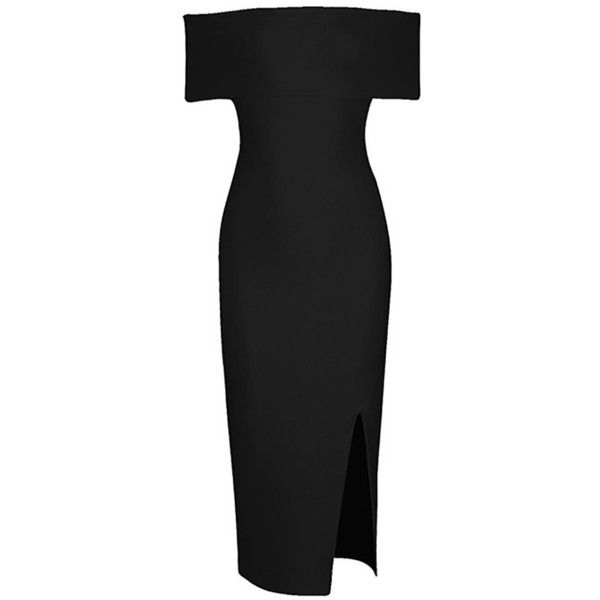 Off Shoulder Short Sleeve Bandage Viscose Midi Dress ($86) ❤ liked on Polyvore featuring dresses, short-sleeve dresses, short sleeve midi dress, mid calf dresses, rayon dress and midi dress