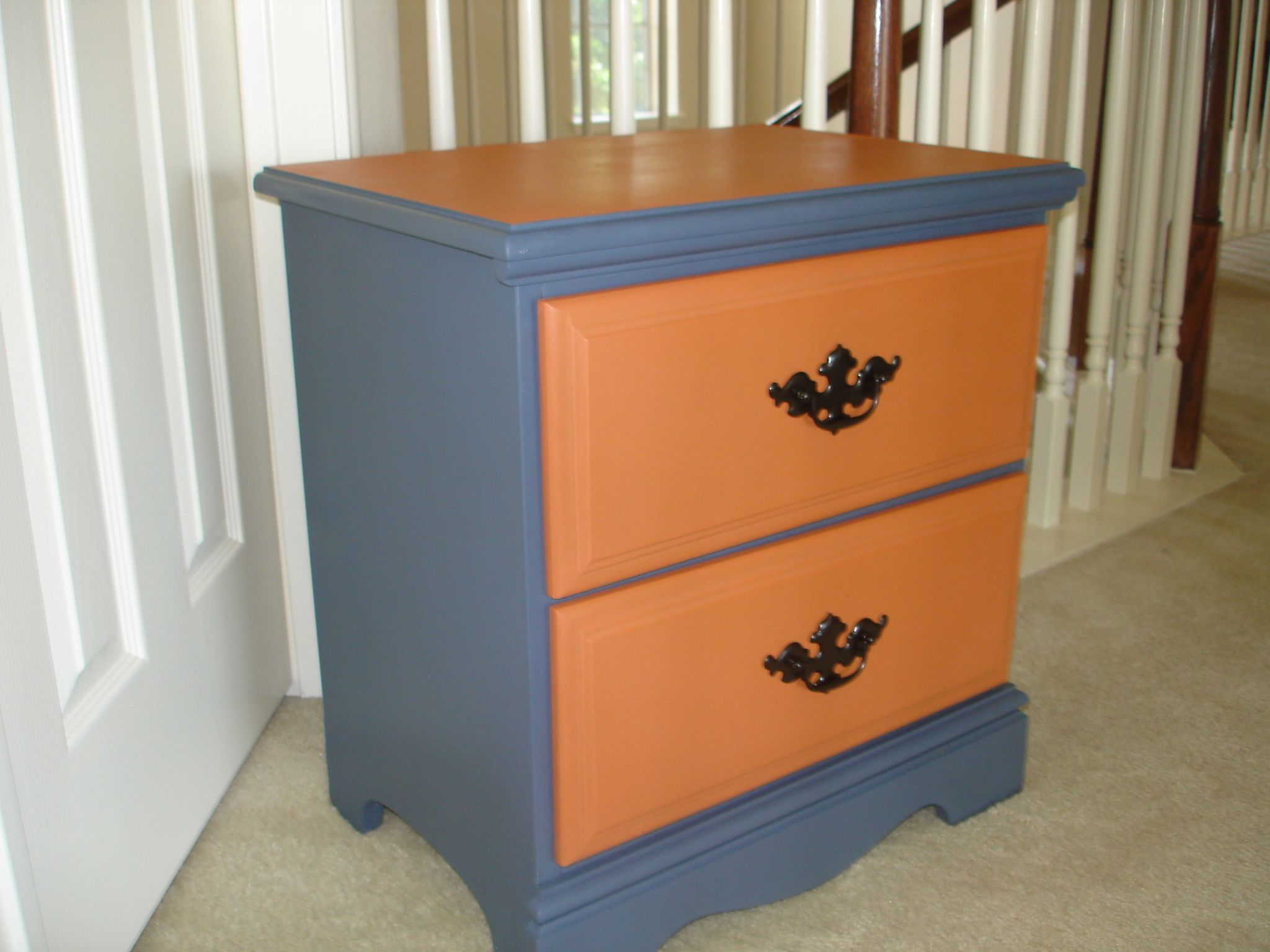 Cute Bedside Table Hand Painted Using Chalk Style Paint In Devine Compass  And Bear Claw.