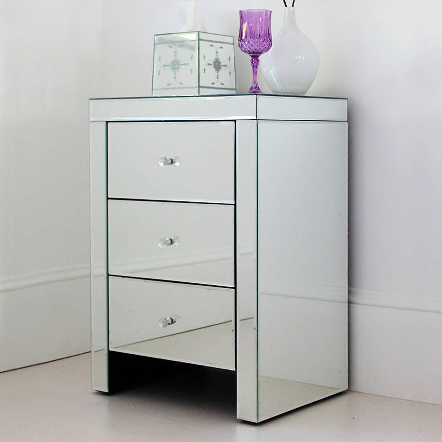 Three Drawer Mirrored Bedside Table | Mirror bedside table ...