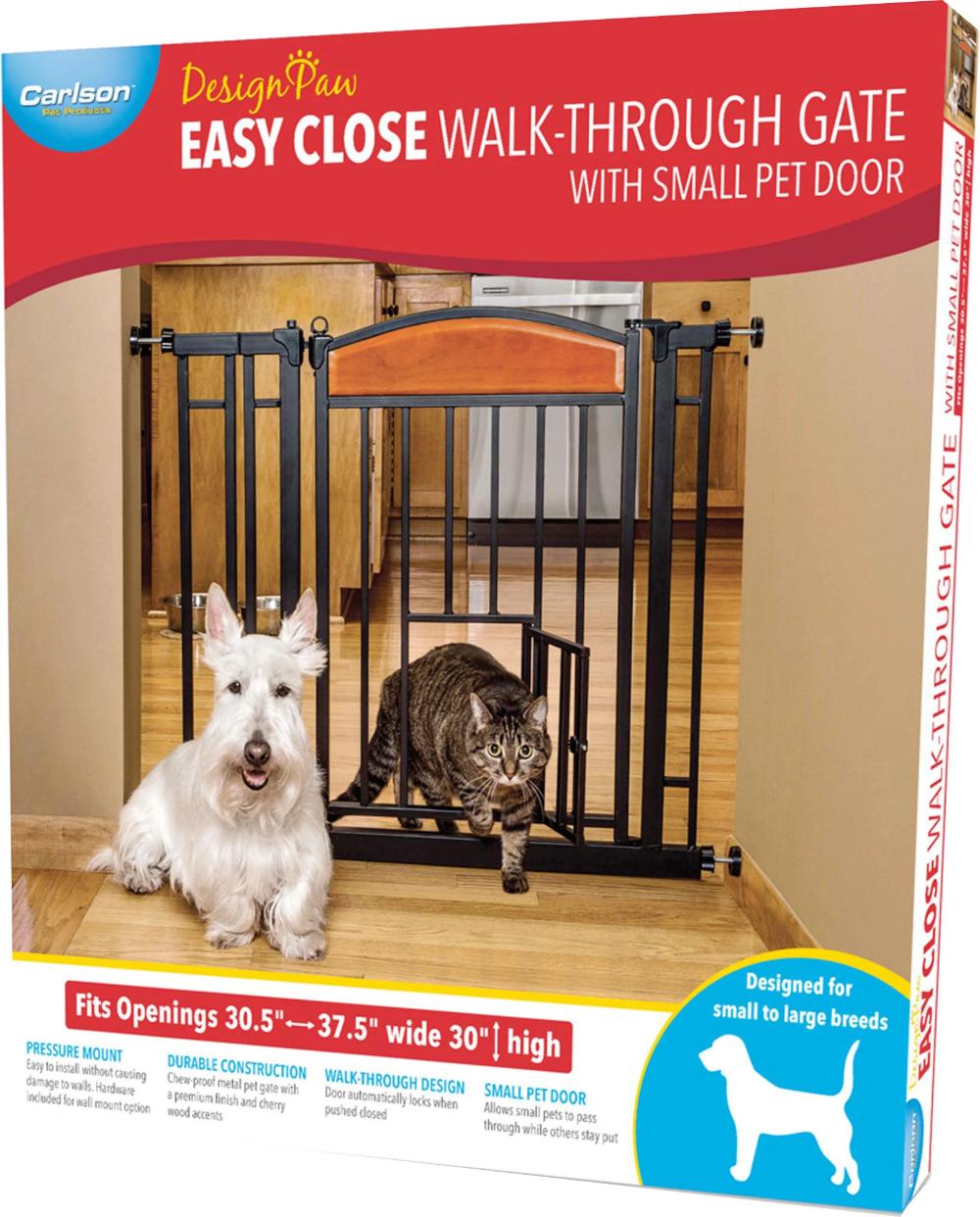 Easy Close Walk Through Gate With Door Pet Gate Pet Supplies Dog Cat Toilet Training