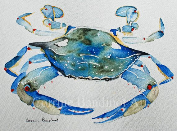 Watercolor Painting Of Blue Crab Ocean Life Original Art Work