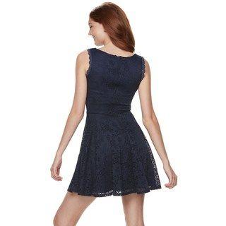 ac7e56c4a18 Juniors  Lily Rose Scallop Trim Lace Skater Dress