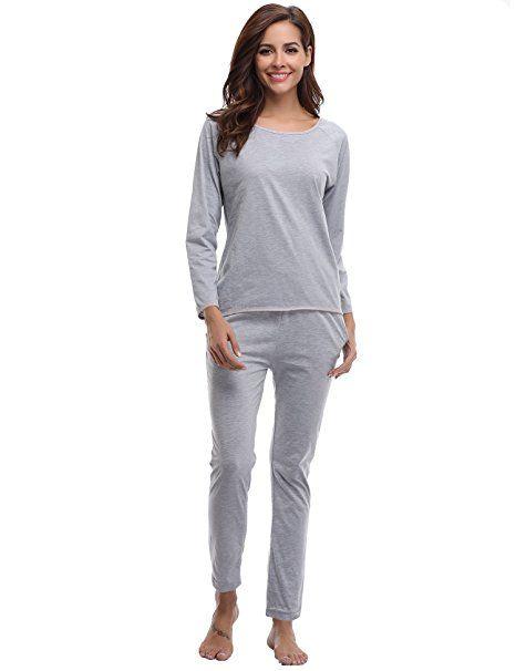 6f617ca230 Aibrou Damen Pyjama Schlafanzug Baumwolle Lang Langarm Zweiteilig Herbst  Winter Nachtwäsche Nachthemd Hausanzug Rundhals Blau…   Ladies Nightware  Style in ...
