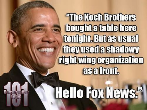 """Obama calling out the Koch Brothers and FOX """"news"""" at the White House Correspondents Dinner.  Many a true word is spoken in jest."""