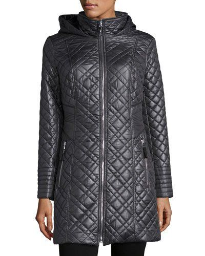 Quilted Jacket with Hood, Gunmetal