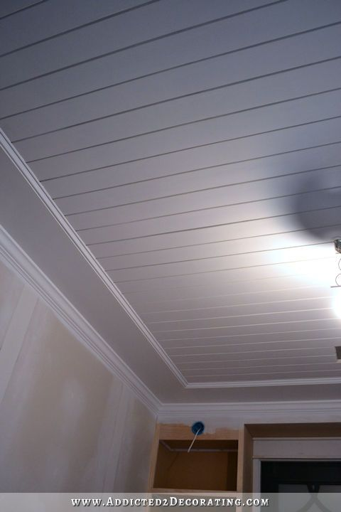 How To Install A Wood Plank Ceiling Wood Plank Ceiling Plank Ceiling Basement Ceiling