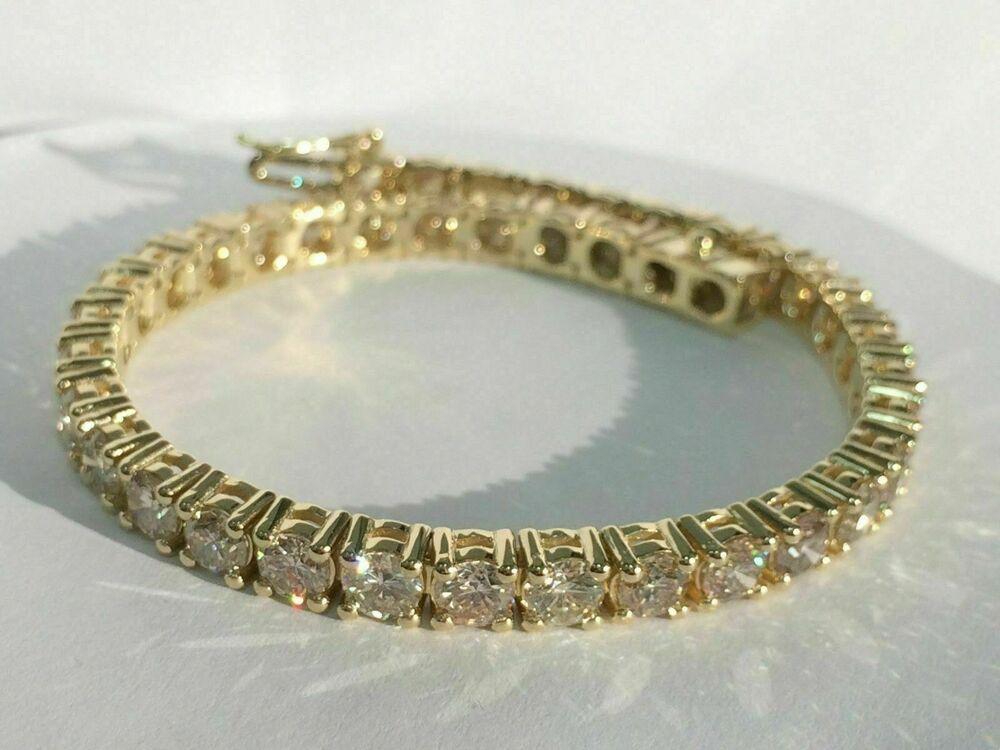 "6 ct Round Cut D//VVS1 Diamond Tennis Bracelet Solid 14k Yellow Gold Over 8/"""