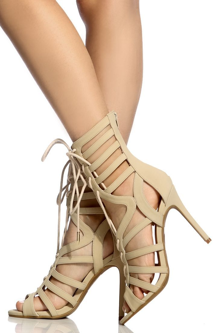 b69a546cfb91 Trendy Women s High Heels   Nude Faux Nubuck Cut Out Lace Up Heels ...