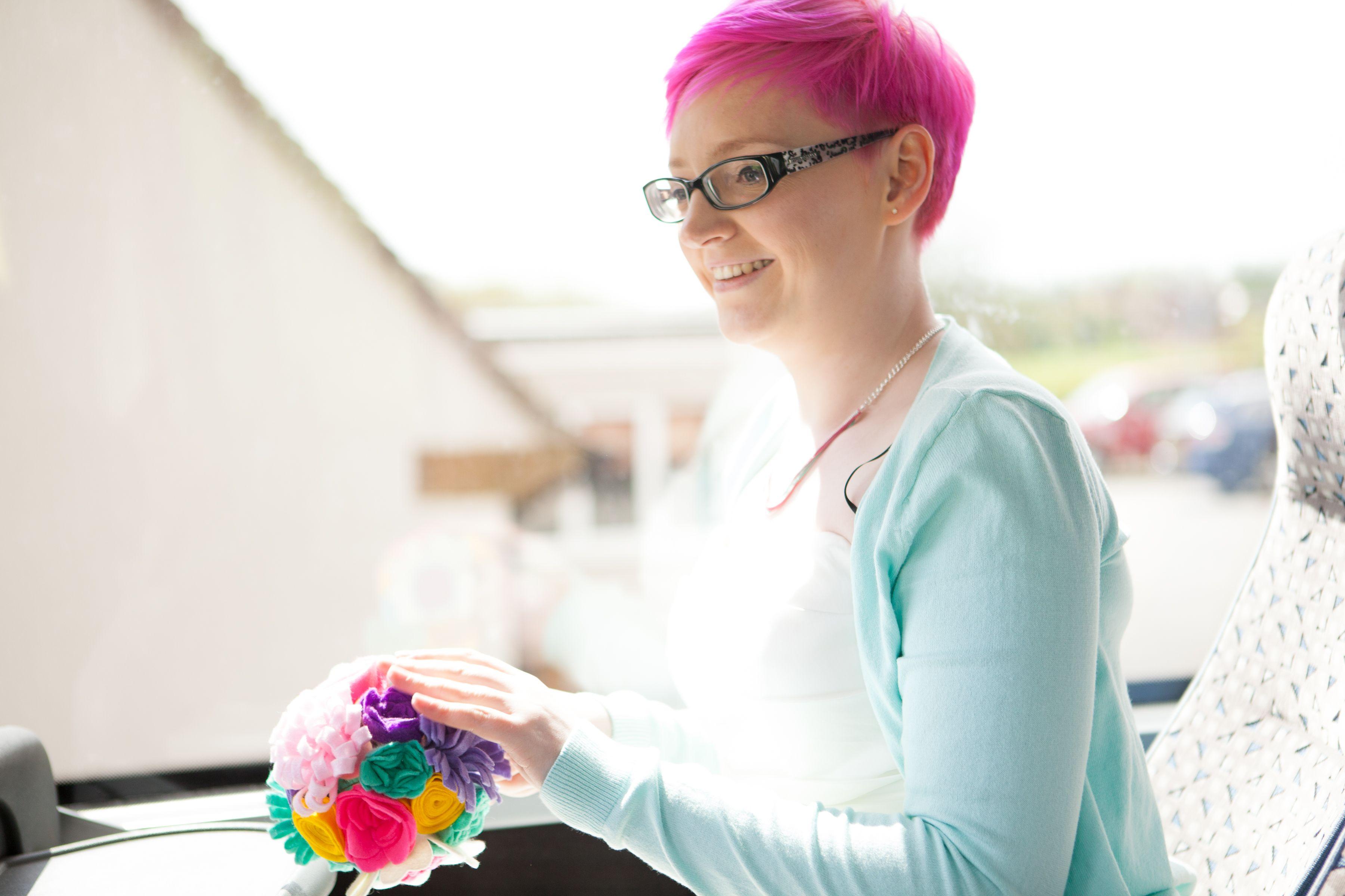 alternative wedding transport - a coach with our guests :)  felt bouquet. colourful, crafty, diy, budget wedding