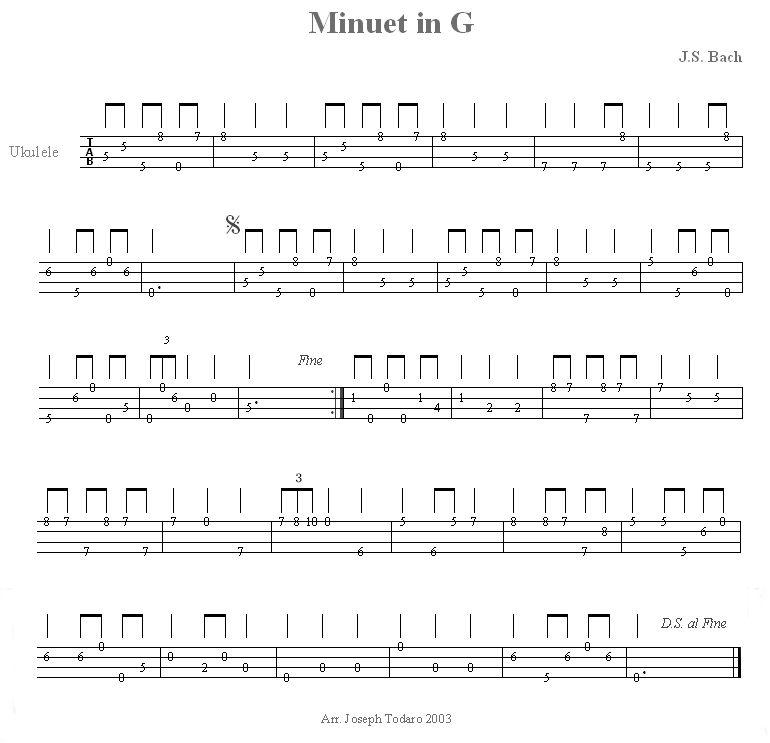Bachu0027s Minuet in G - for Ukulele Mandolin Pinterest - mandolin chord chart