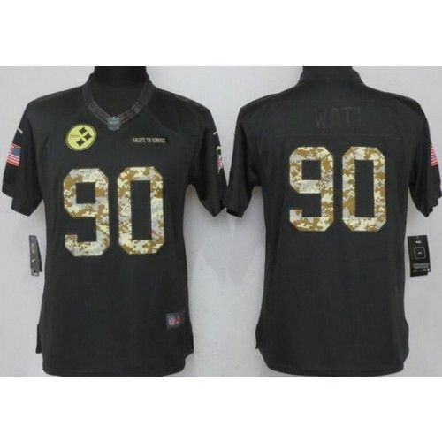 detailed look a8a34 a53c9 Women's Pittsburgh Steelers #90 TJ Watt Anthracite Salute To ...