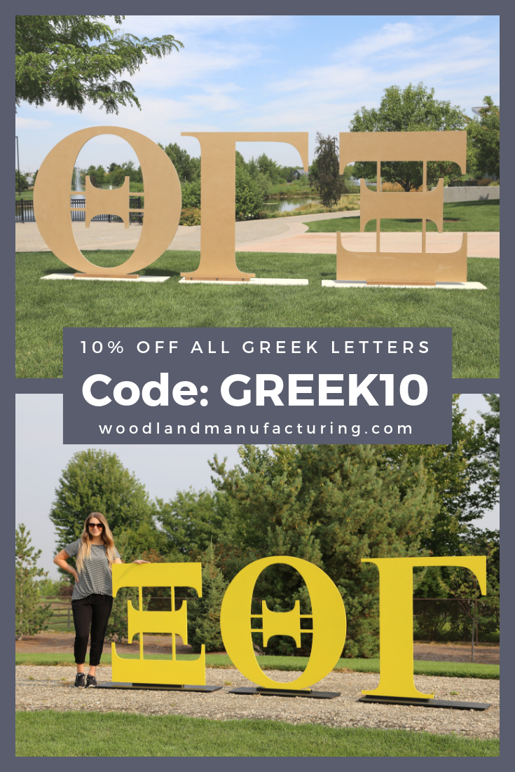 Save 10 off All Greek Letters when you use Coupon Code