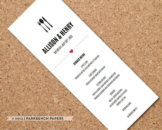 Ultra Modern Wedding Menu Card  Diy Editable Word Template