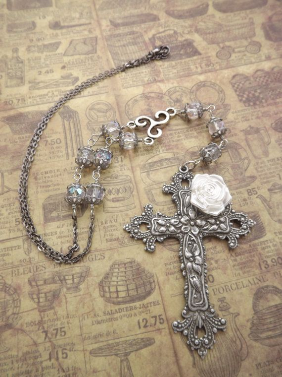 Gothic Rosary Necklace by MeLadyJewelry on Etsy, $45.00
