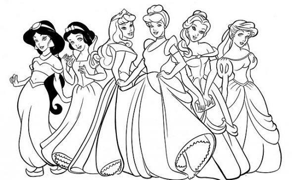 Resultado de imagen para dibujos para pintar de disney princesas ...