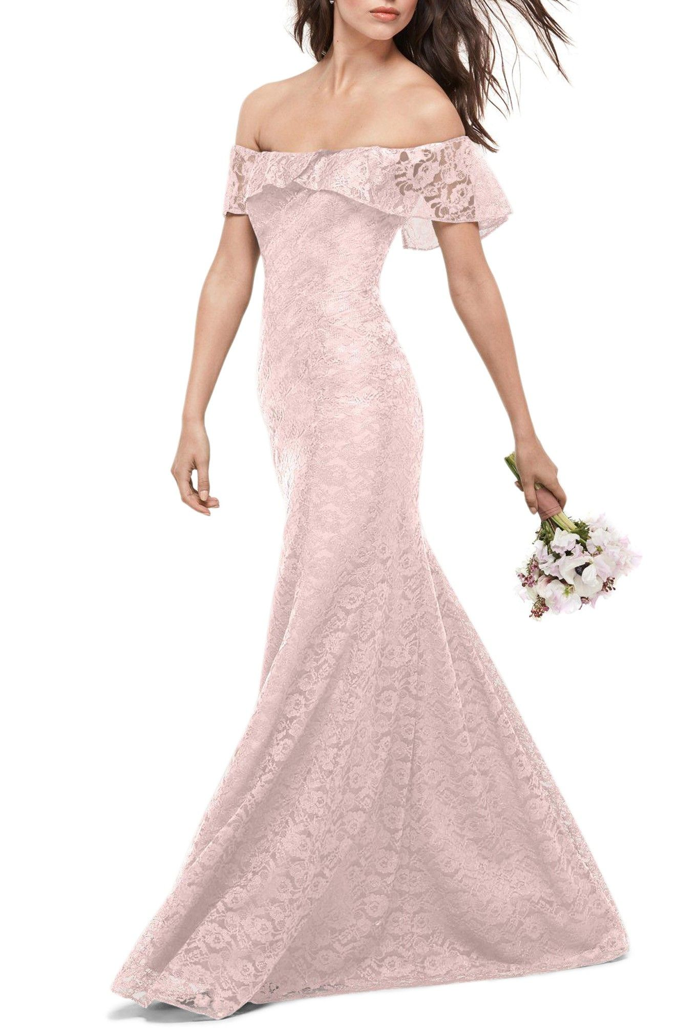 Dress for wedding guest spring  Gorgeous Amour Lace Off the Shoulder Gown blush lace wedding