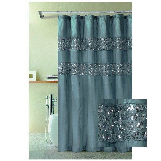 Amazon Com Fabric Shower Curtain With Stitched Sequins 72 X 72