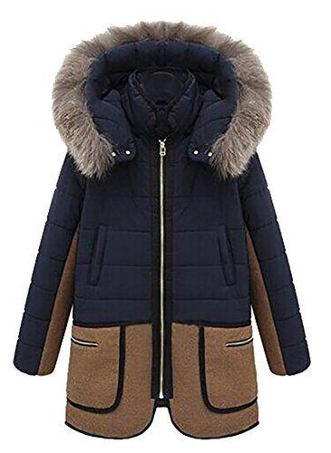 Womens Winter Warm Hooded Trench Coat Wool Blend Long Jacket Peacoat Parka Tops