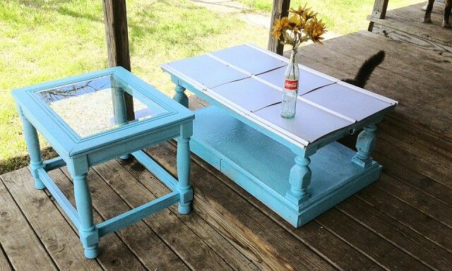 Merveilleux Turquoise Furniture With Tin Table Top