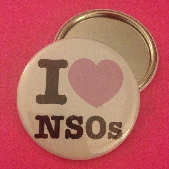 """Pocket mirror """"I love NSOs"""" Roller Derby"""