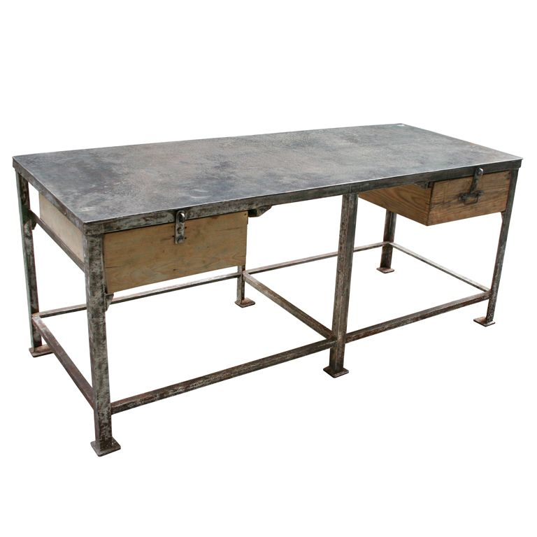 Exceptional Very Large Iron Factory Table