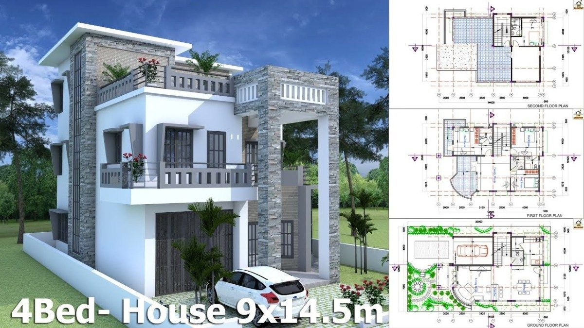 Modern House Plan 9 14 5m With 4 Bedrooms This Villa Is Modeling By Sam Architect With 2 Stories Level It S H Modern House Plan House Plans Modern House Plans