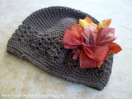 Fall Leaf Brown Crochet Hat | hippbowsboutique - Children's on ArtFire