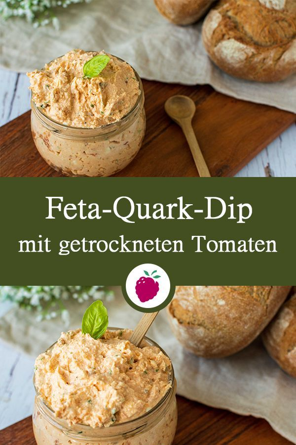 Feta-Quark-Dip mit getrockneten Tomaten Vegetarisch, gesund, glutenfrei. #dinkelundbeeren