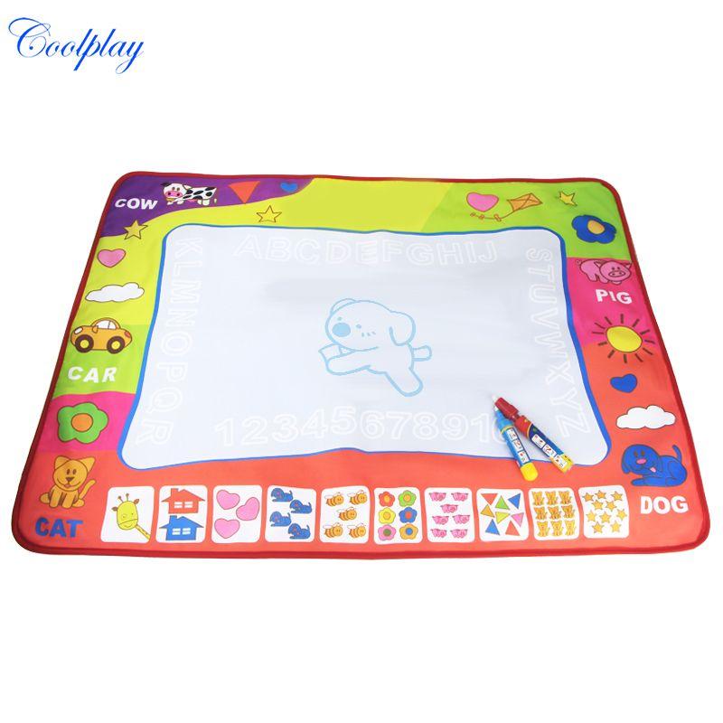 Coolplay 80x60cm Aqua Doodle Painting Mat 2 Drawing Pen Water Drawing Play Mat/water draw rug/coloring mat for kid toys CP1308