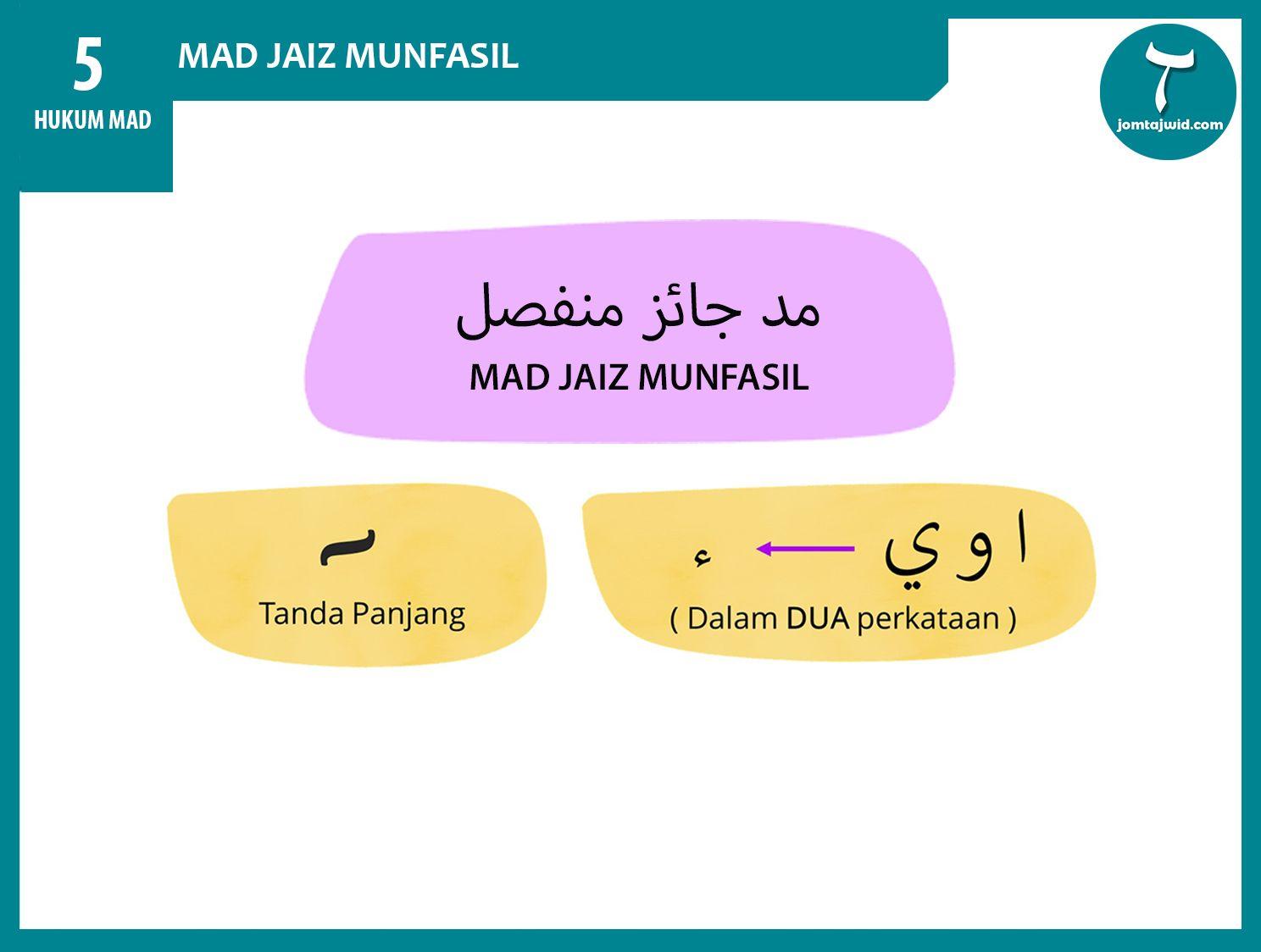Sebab Ia Terjadi Mad Jaiz Munfasil Terjadi Apabila Huruf Mad Bertemu Dengan Hamzah Dalam Dua Perkataan Keterangan Mad Tajweed Quran Learning Arabic Quran