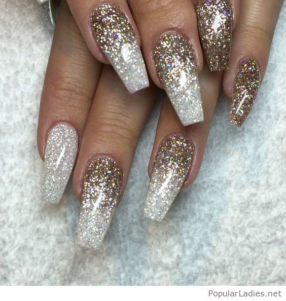 Silver and gold glitter on long nails | Gold glitter, Gold and Prom