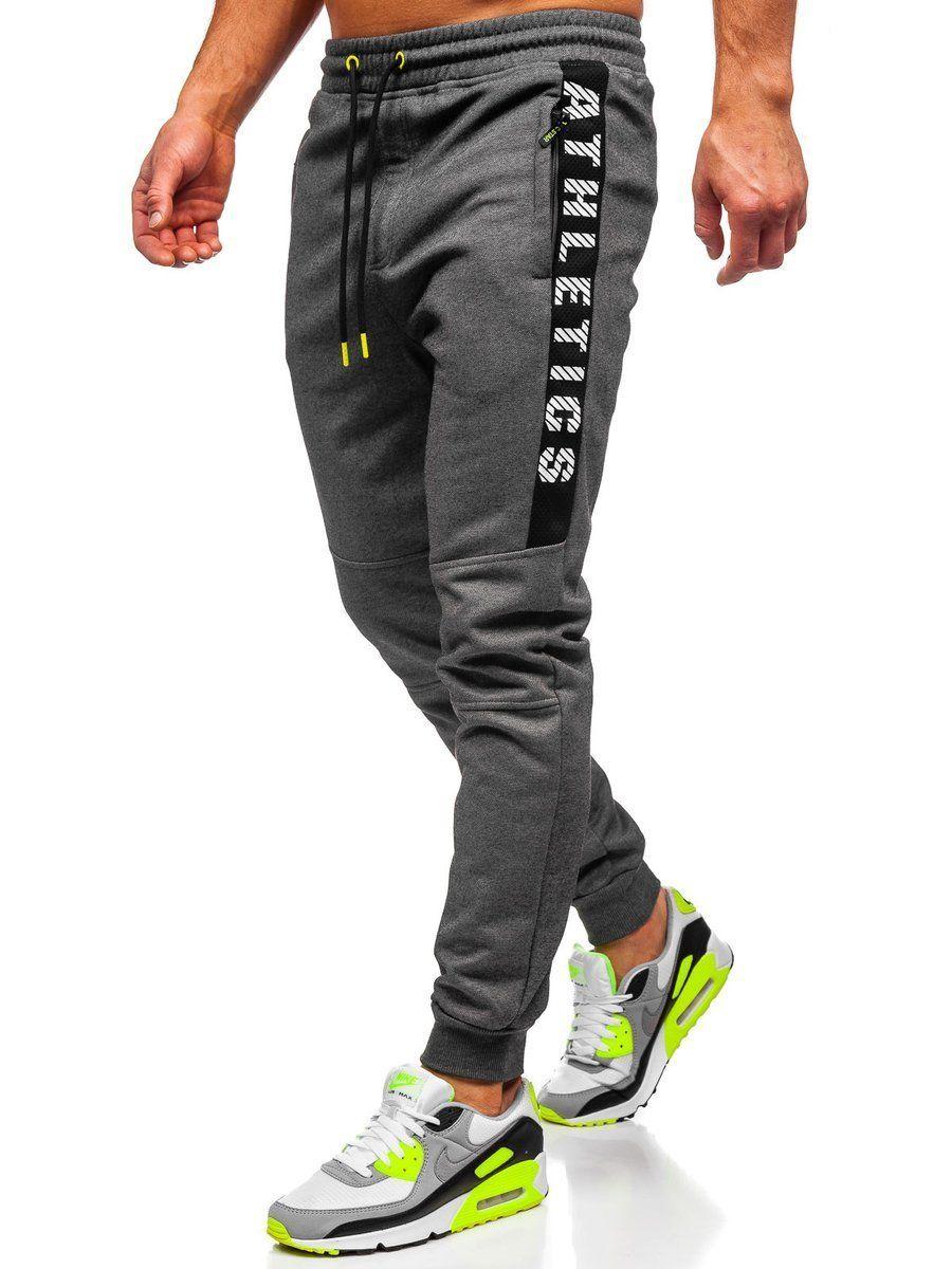 Szare Dresowe Spodnie Meskie Denley Tc950 Sweatpants Pants Fashion