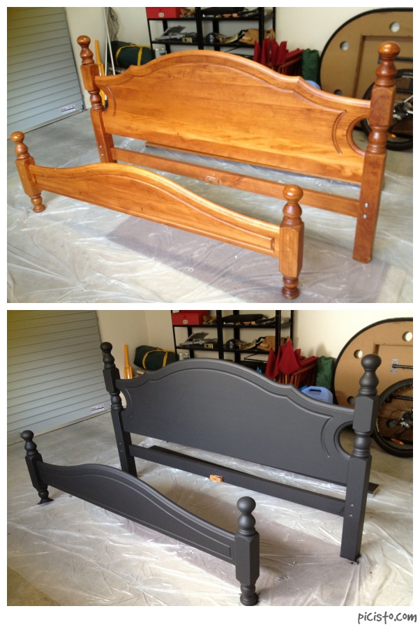 Decided to paint my boring old wooden bed matte black... | house ...