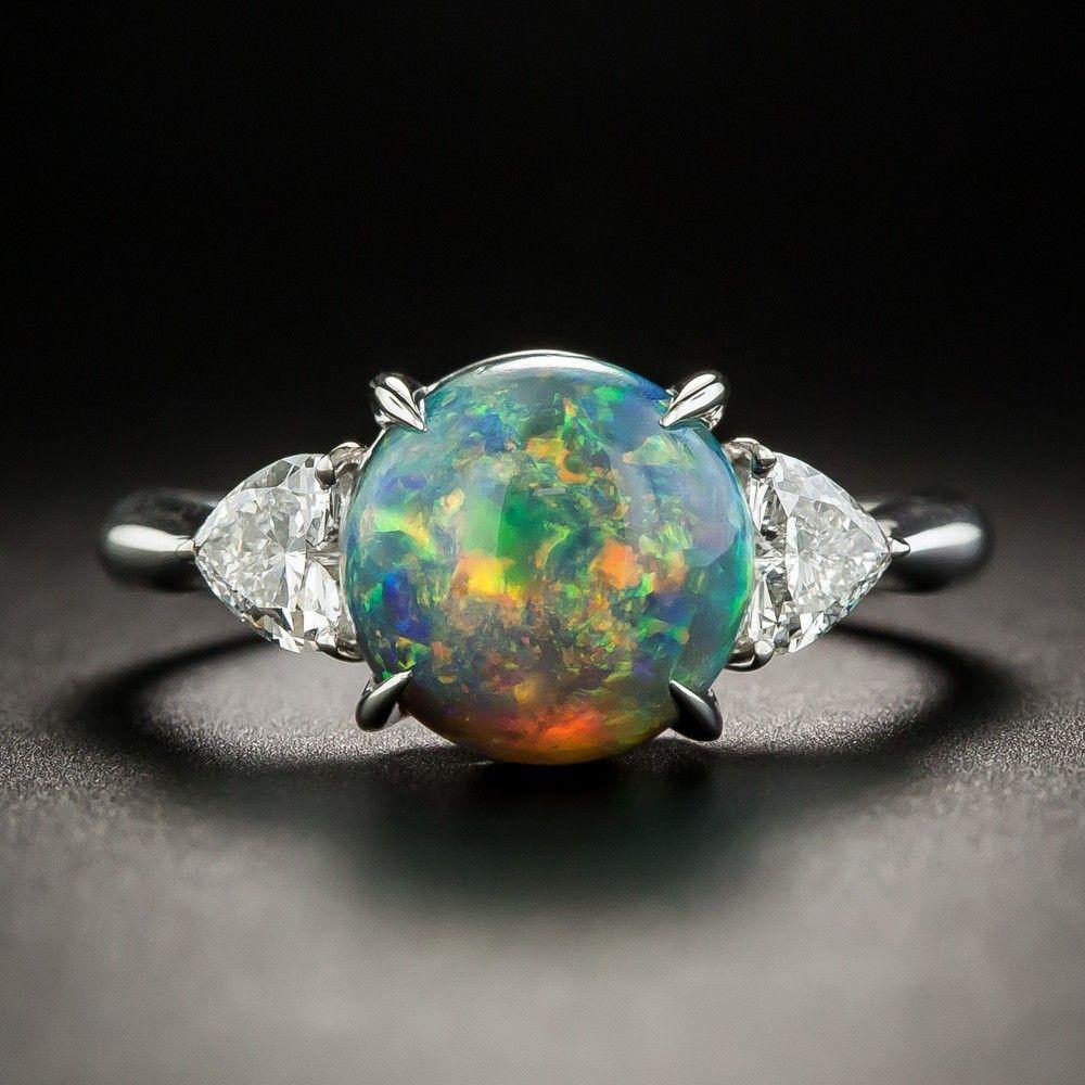 Black Opal Platinum Diamond Ring Vintage Engagement