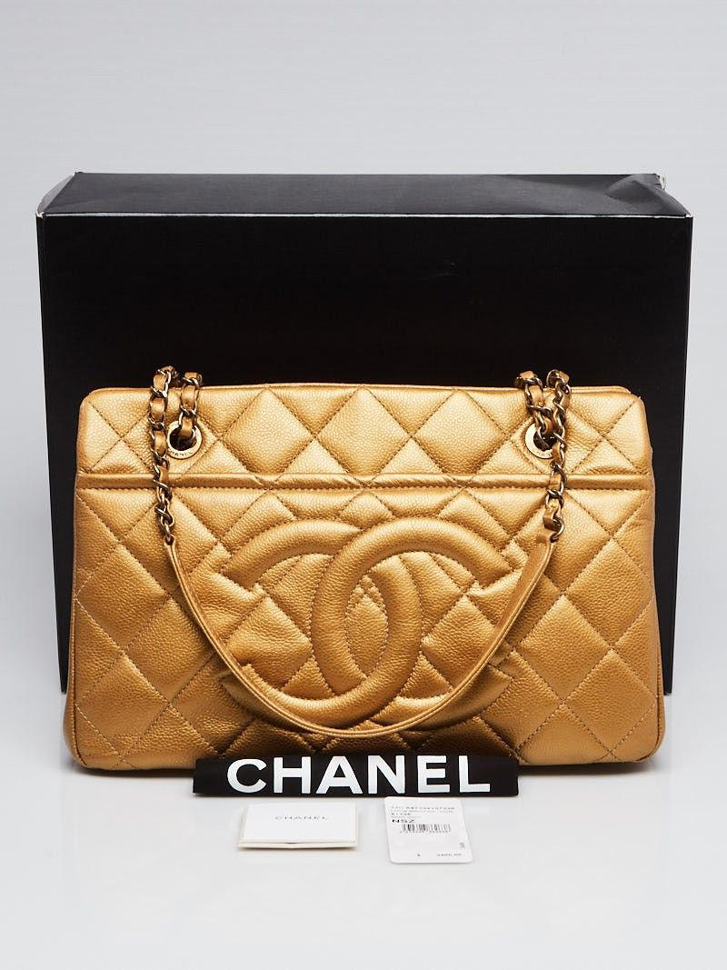 881fa6df362 Chanel Dark Gold Quilted Caviar Leather Timeless CC Soft Shopping Tote Bag  - Yoogi s Closet