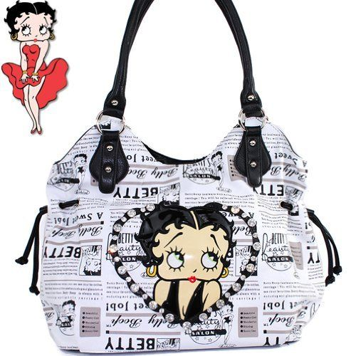 $35.99Amazon.com: Betty Boop Fashion Exotic Raised Gemstones Rhinestone Studded Tote Hobo Embroidered Newspaper Print Handbag Purse in White: Clothing