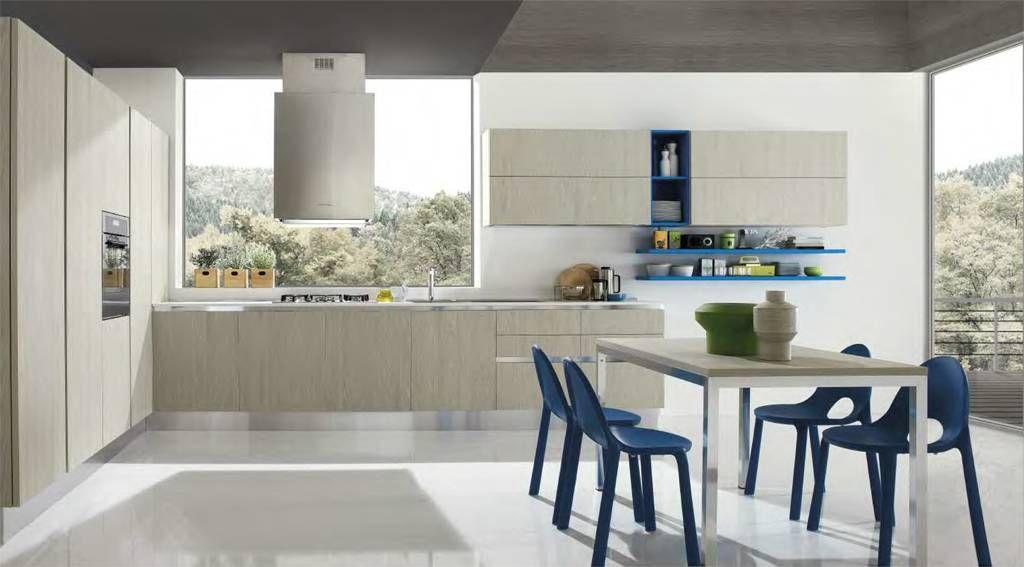 CHIARA 7. Cucina ad angolo, moderna, in finitura colore cedro ...