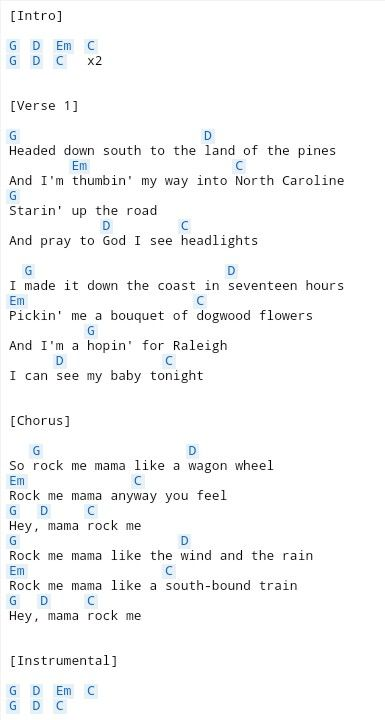 Wagon Wheel (1) | Gitaarliedjes | Pinterest | Wagon wheels, Guitars ...