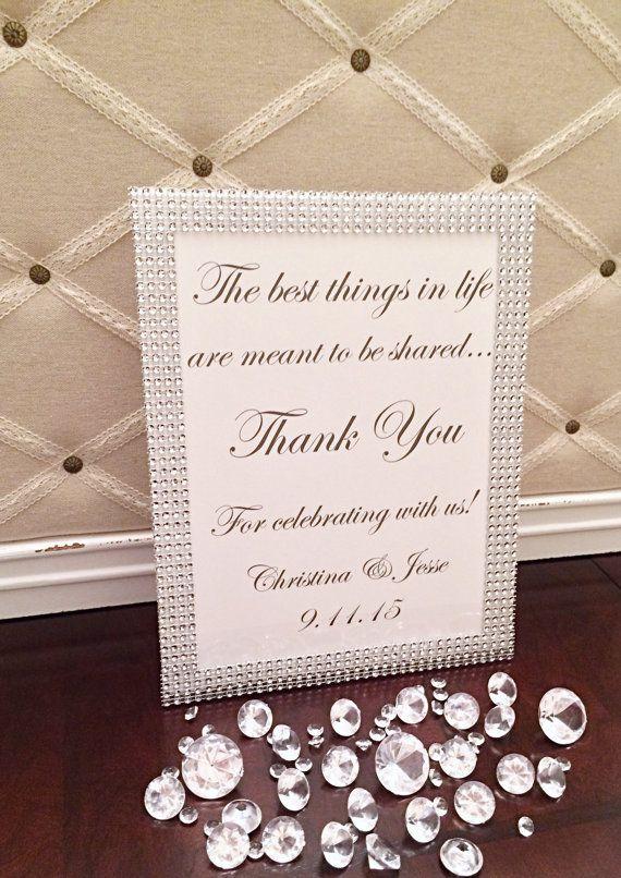 Bling Wedding Thank You SignWedding Gratitude SignBling Favor SignLuxury Sign